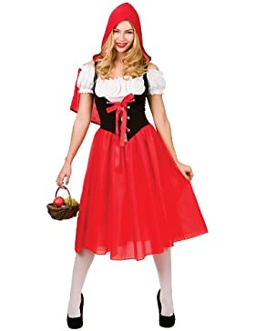 LADIES RED STORY BOOK RED RIDING HOOD FANCY DRESS COSTUME