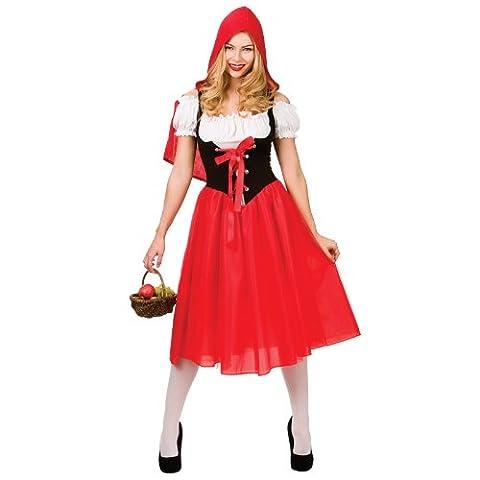 Damen Rotkäppchen Fancy Dress Halloween Kostüm (Großbritannien Kostüm)