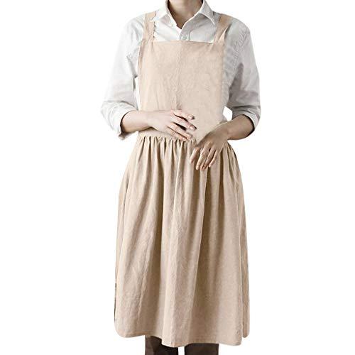 ❤❤ JiaMeng Ärmellos Zuhause Kochen Schürze Florist Süß Lätzchen Kleid Damen Freizeit Knielang Kleider