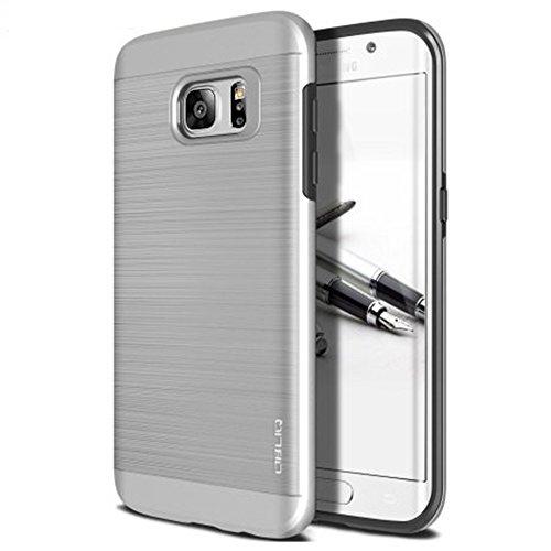 OBLIQ Schutzhülle für Galaxy S7, schlankes Meta[Satinsilber] Slim Fit Premium Dual Layer-Schutzhülle mit Metallic-Bürsten-Finish Rückseite mit stoßdämpfender TPU-Innenschicht für Samsung Galaxy S7