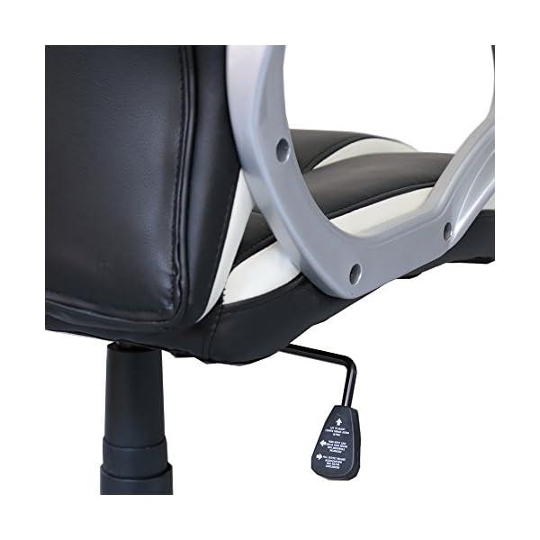 HG® Silla Giratoria De Oficina Silla De Juegos Premium Confort Apoyabrazos Tapizados Silla De Carreras Capacidad De Carga 200 Kg Altura Ajustable Negro/Blanco
