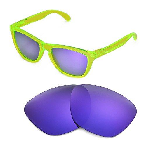 Walleva Ersatzgläser für Oakley Frogskins Sonnenbrille - Mehrfache Optionen (Lila beschichtet - polarisiert)