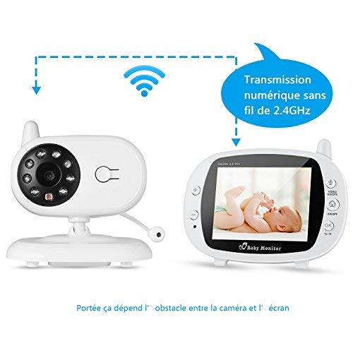 """Video-Babyphone mit Kamera, OUTAD Baby Monitor/Baby Überwachungskamera, mit 3.5"""" LCD Display(Sound-aktivieren), Nachtsichtkamera,Temperaturüberwachung, Einziehbare Antenne, ECO-Mode, Wiegenlieder"""
