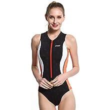 Cressi Women's Termico Premium Ultraspan 2 mm Swimsuit, Black/Orange, XS/1