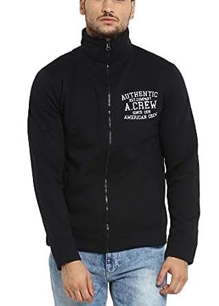 AMERICAN CREW Men's Solid Full Sleeves Black Zipper Jacket with Applique -S (ACJK09-S)