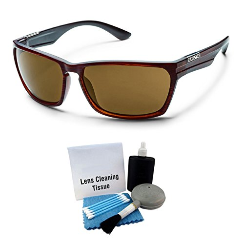 Suncloud Cutout Injection Sunglasses - Burnished Brown Frame, Brown Lens with Lens Cleaning Kit Optic-lens Cleaning Kit