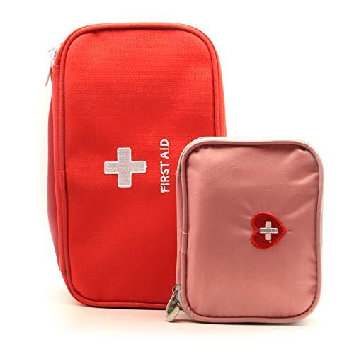 Trousse vide de premiers soins portative, petit sac de rangement de premier répondant, sac de survie d'urgence,Rouge+Rosa,2Pack