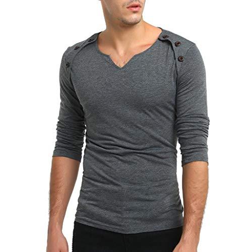 UJUNAOR Herren Herbst Pure Color Langarm Herzförmiger Pullover Fastener Sweatshirts Top Bluse(M,Dunkelgrau) -