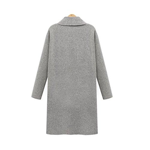 Cardigan Femme,LMMVP Femmes Front Ouvert Trench-Coat Vestes Longues Manteaux Pardessus Cardigan Cascade gris