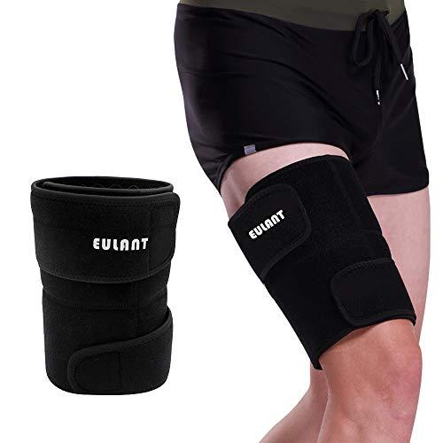 ONT Oberschenkelbandage Männer Frauen Verstellbare Neopren Oberschenkel Bandage für Rechtes und Linkes Bein Oberschenkelbandage Schwarz /1 Stück