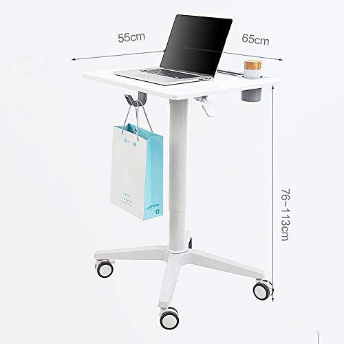 Zhuozi FUFU Tische Tragbare Einstellbare Pneumatische Sit-Stand Mobile Schreibtisch Warenkorb Laptop Stand Tischständer Tisch Rolling Desk Drop-Blatt-Tabelle (Warenkorb Laptop-schreibtisch)