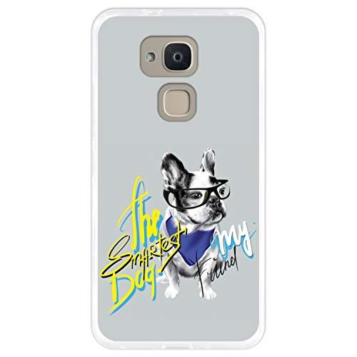 Hapdey silikon Hülle für [Bq Aquaris V Plus - VS Plus] mit gestempelt, Design [Gemälde, Elegante französische Bulldogge mit Brille] Farbe [Transparenz] Smartphone, Foto