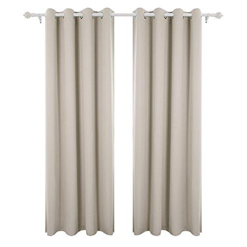 Deconovo tende oscuranti termiche isolanti con occhielli per camera da letto 140x290 cm beige chiaro 2 pannelli