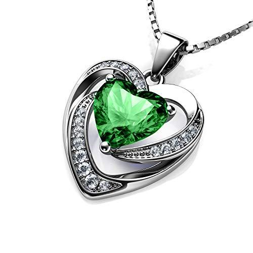 220ad0ddbf4e DEPHINI - Collar de corazón verde - Plata de ley 925 - Piedra natal de  peridoto adornada con colgante de cristal de Swarovski® - Collar de mujer  de joyería ...