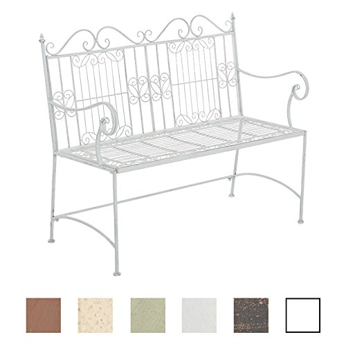 CLP Eisen-Gartenbank ADELE im Landhausstil, aus lackiertem Metall, 107 x 54 cm Antik Weiß
