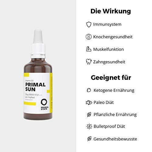 Vitamin D Tropfen PRIMAL SUN | In Kokosöl gelöst | Unabhängig zertifiziertes Vitamin D3 | Hohe Bioverfügbarkeit | Hochdosierte 1000 I.E. je Tropfen | 1150 Tropfen - 3
