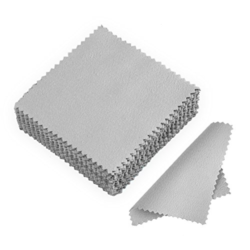 JuanYa 50 Stücke Schmuck Reinigungstuch, Poliertuch für Sterling Silber Gold Platin,Grau