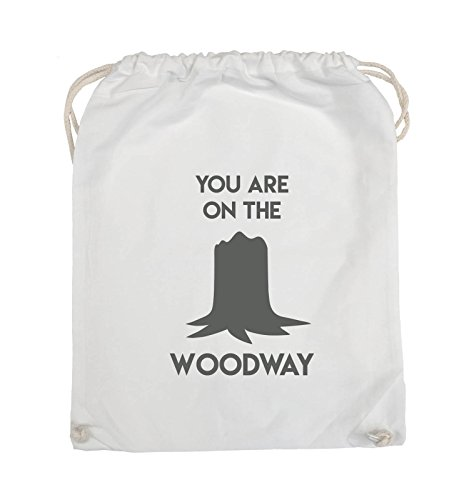 Comedy Bags - YOU ARE ON THE WOODWAY - Turnbeutel - 37x46cm - Farbe: Schwarz / Pink Weiss / Grau