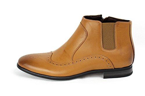 Hommes Chaussures Habillées Mode Décontractée Chelsea Cheville Fermeture Éclair Lacet Élégant Motard Taille De Chaussure Marron