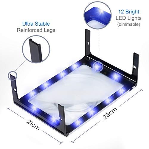 Fancii 2x große Leselupe mit LED Licht, A4 Vollbild Lupe für die Nutzung mit Handgriff, freihändig, mit Ständer oder Halsschlaufe – Lesehilfe für Senioren und zum Lesen, USB- und Batteriebetrieb - 5