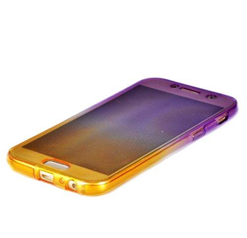 Coque Samsung Galaxy A5 2017 TPU Silicone Case,Vandot 3in1 Samsung A5 2017 TPU Clair transparent Etui avec Cristal Bling Coque Sparkle Rhinestone Briller Diamont Strass Housse Extrêmement Mince Légère Transparent-Purple+Jaune