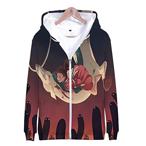 RJHWY 3D Hoodie Sweatshirt Unisex Pullover Kapuzenjacke Kleidung Mantel Reißverschluss Anime Top Spirited Away L