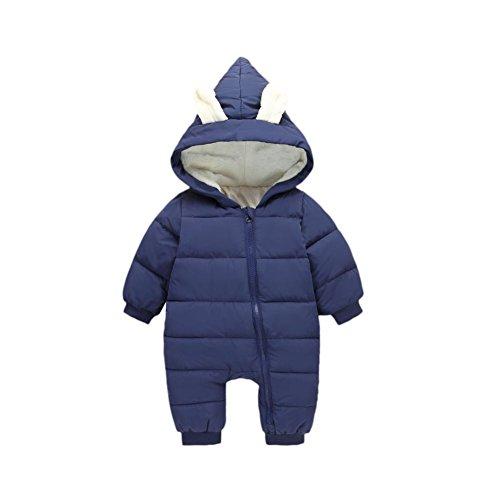 Doubleer Neugeborenen Hoodie Overall Kleinkind Kinder Langarm Parka Unten Strampler Padded Bodysuit Für 0-24 Monate