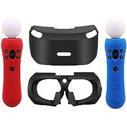 Coque de Protection en Silicone 3D pour Casque PSVR PS VR + 2 pièces Coque de Protection en Silicone pour Sony PS VR Move (Rouge/Bleu)
