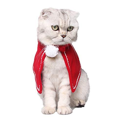 (PEDOMUS Katzen-Kostüm Weihnachten Haustier Kostüme Haustier-Mantel Katze Weihnachtskostüm Haustier-Kleid für kleine Hunde und Katzen (rot))