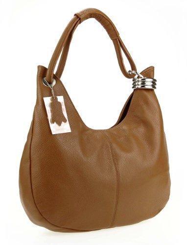 OBC MADE IN ITALY Donna Vera Pelle Borsa Shopper Borsa in pelle borsa borsa con manici borsa a tracolla - Grigio Chiaro, 42x26x10 cm (BxHxT) Cognac