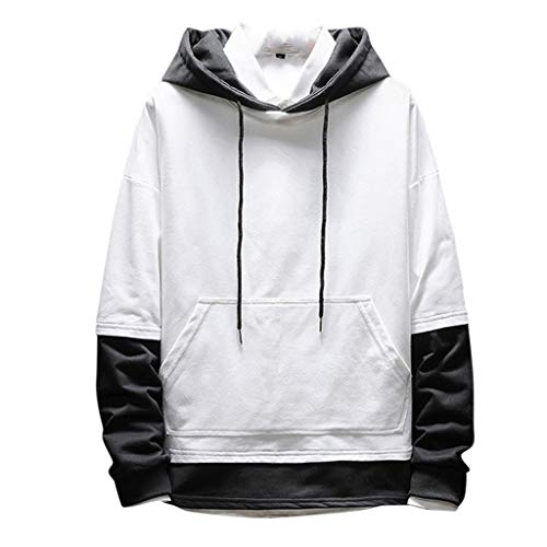 Jugendhj Männer Neue Art beiläufige Art und Weise Patchwork Hoodie Lange Hülsen Sweatershirt Oberseiten