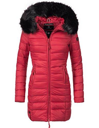 Marikoo Damen Winter-Mantel Steppmantel Rose (vegan hergestellt) Rot Gr. L