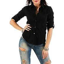 0289c2fedc094e Mississhop Damen Klassische Hemdbluse Business Hemd Casual Bluse Oberteil  Top Tunika T-Shirt tailliert Unifarben
