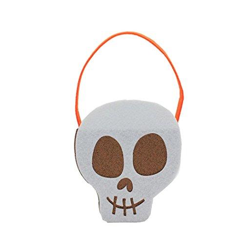 HKFV Non-woven-Materialien Halloween-Kürbis-Beutel-Kind-Süßigkeit-Hand Eimer Kinder Lustige Candy Bag verschiedene Größen (weiß) (Halloween Candy Bag Handwerk)