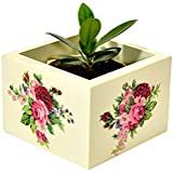 Handcrafted Wooden Decorative Multi Utility Storage Planter Box With Red Rose Bunches - The Weavers Nest