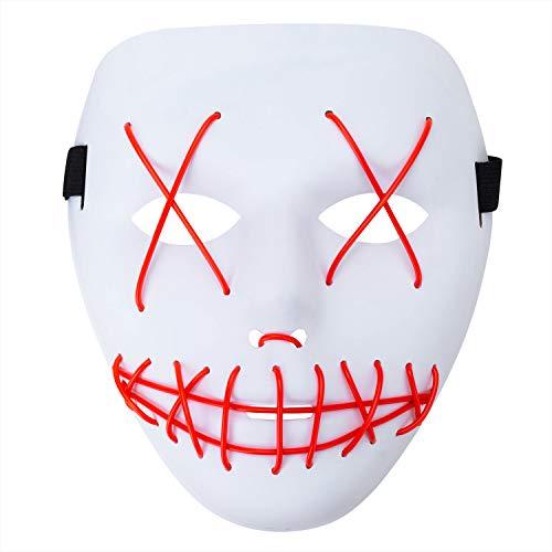(MeOkey Halloween EL Maske LED Leuchten Skull Gesichtsmaske Skelett Mask mit Draht blinkend Licht im Dunkel glühen für Cosplay Karneval Kostüm Party)