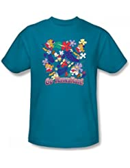 Garfield - Go Hawaiian - Turquoise hommes adultes court T-shirt à manches, XXX-Large, Turquoise