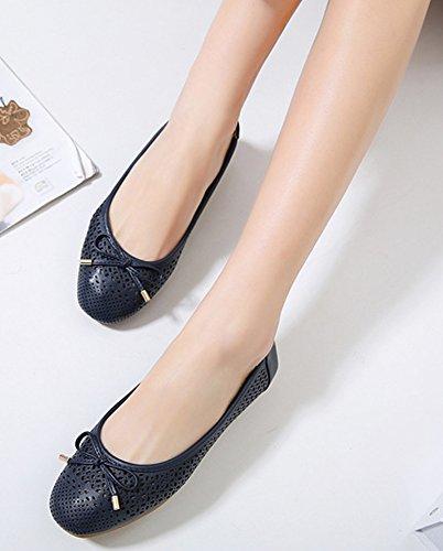 Minetom Femme Printemps et été Bowknot Ballerines Creux Respirant Plat Chaussons Pied Carré Confortable Chaussures Casual Loafer Bleu