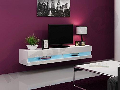 TV Lowboard Vigo New 180 cm, TV Tische, TV Schrank, Fernsehschrank, Hängeschrank, Hochglanz (mit blauer LED Beleuchtung, Weiß / Weiß Hochglanz) -