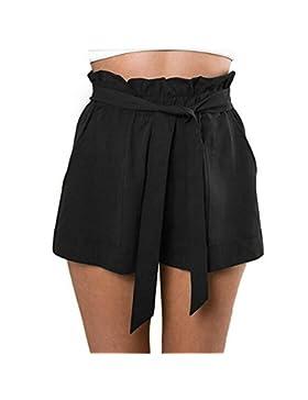 Luoluoluo Shorts Donna,Donna Sexy Elastico Vita Bowknot Pantaloncini Estivi con Tasche