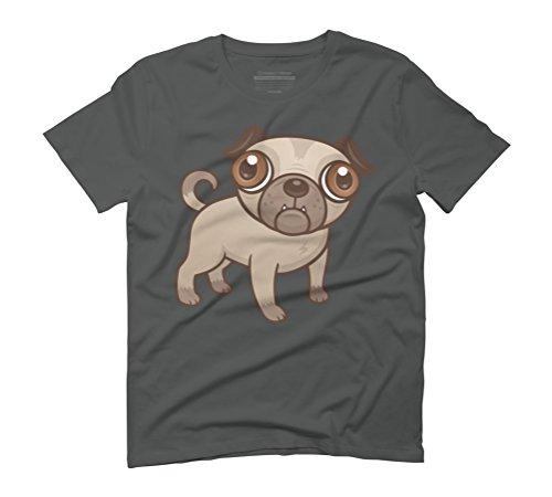 Pug Puppy Cartoon Men's Graphic T-Shirt - Design By Humans Anthracite