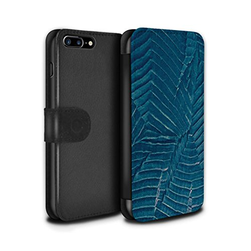 STUFF4 PU-Leder Hülle/Case/Tasche/Cover für Apple iPhone 7 Plus / Ast/Muster Muster / Teal Mode Kollektion Blatt/Stoff