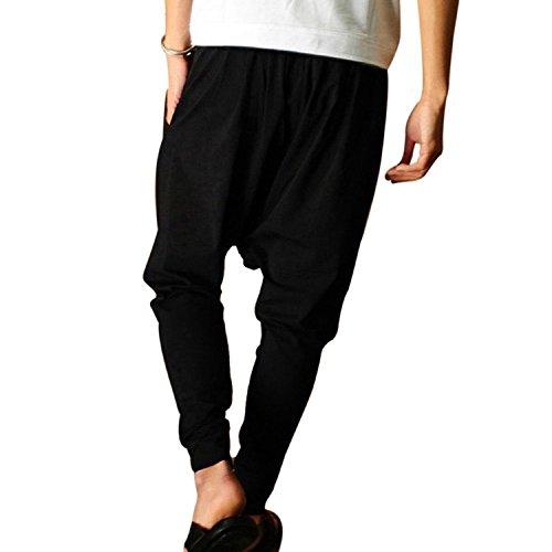 Minetom Homme Taille Elastique Slant Poches Pantalon Sarouel bien conçu Pantalon Herem élastique Pantalon Jogging Noir