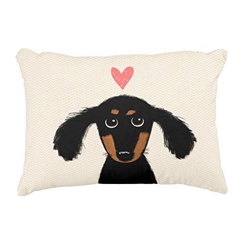 Meimei2divertente dai capelli lunghi bassotto cucciolo con cuore decorativo copriletto federa per cuscino 45,7x 45,7cm