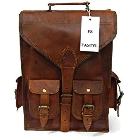 Fastyl - Zaino da scuola in vera pelle, fatto a mano, stile vintage, adatto per laptop 15'', unisex