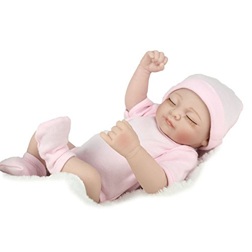 LnLyin Rosa Augen Geschlossen Kunst Puppen Realistische Lebensechte Neugeborene Silikon Vinyl Reborn Geschenk Babypuppen Handgemachte Ganzkörper (Behandlung Lippen Feuchten)
