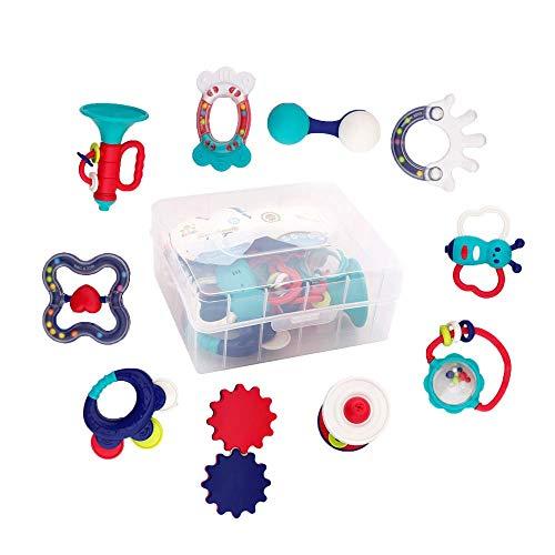 WISHTIME Baby erstes Rassel und Beißring Spielzeug Babyspielzeug BPA frei Baby 10 Stücke schütteln Rassel Beißringe Früherziehung Spielzeug für Neugeborene, für 3, 6, 9, 12 Monate