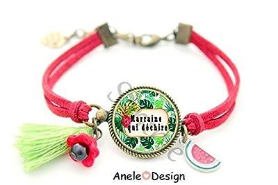Bracelet Marraine, cadeau Marraine, ananas, Marraine qui déchire, cabochon personnalisé, tropical