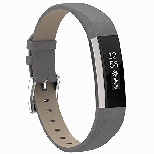 SnowCinda Für Fitbit Alta HR und Fitbit Alta Leder Armband, Verstellbares Ersatzarmband Wristband Unisex Gurt Fitness Zubehörteil mit Metallschließe (Grau)