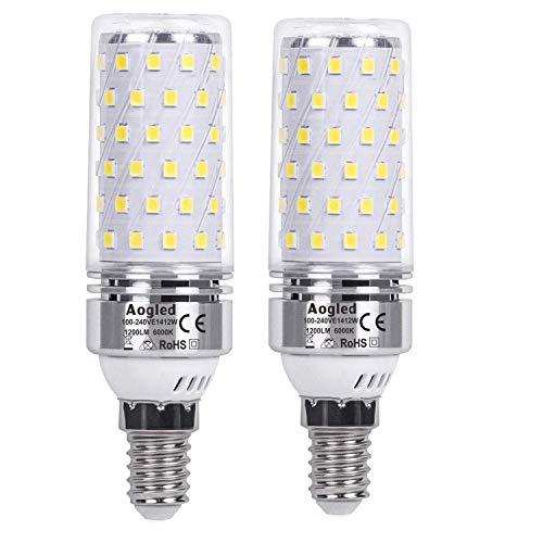 Aogled Ampoules Led E14 12W,1200lm,Équivalent Ampoule Halogène 100w,Blanc Froid 6000k,360 Angle,Non Dimmable,Sans Vacillement,AC220-240V,Candélabre E14,Lot de 2